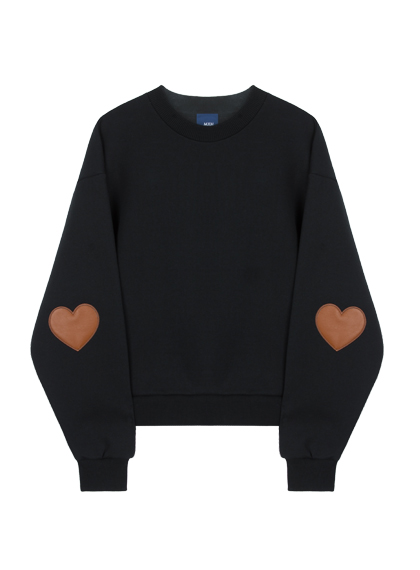 Heart Patch Sweat Shirt (Black)