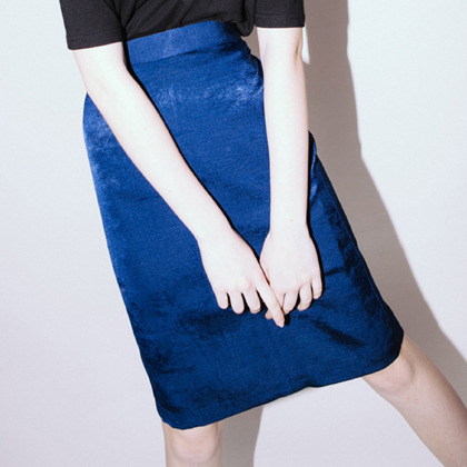 Shining Midi Skirt(Deep blue)
