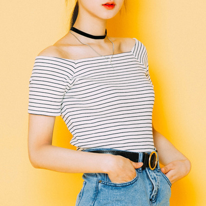 Stripe off shoulder T