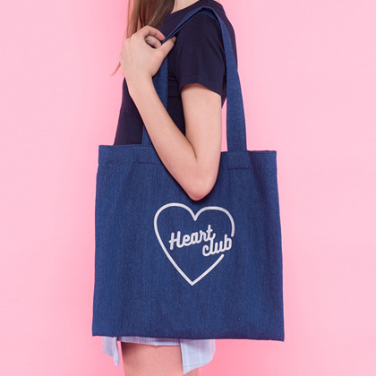 Heart denim eco bag