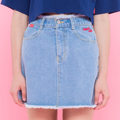 Heart damage denim skirt(Light blue)