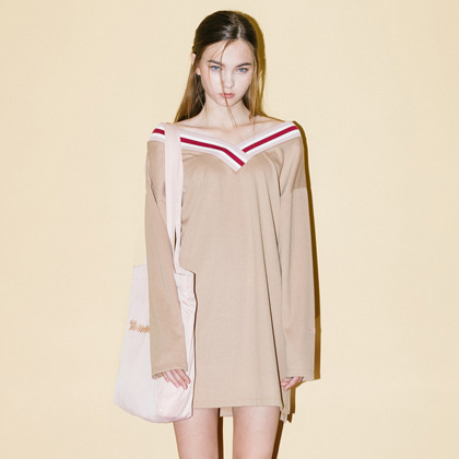 V-Point Off Shoulder Dress  (Beige)
