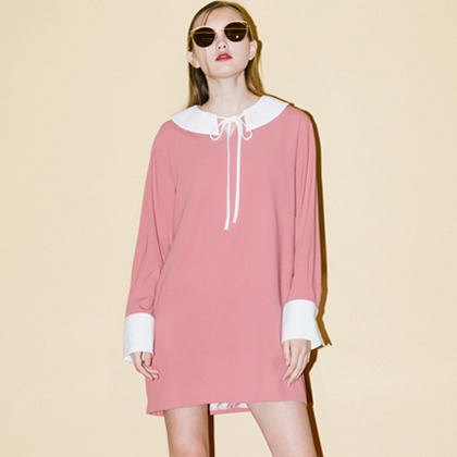 Ribbon Collar Dress (Pink)