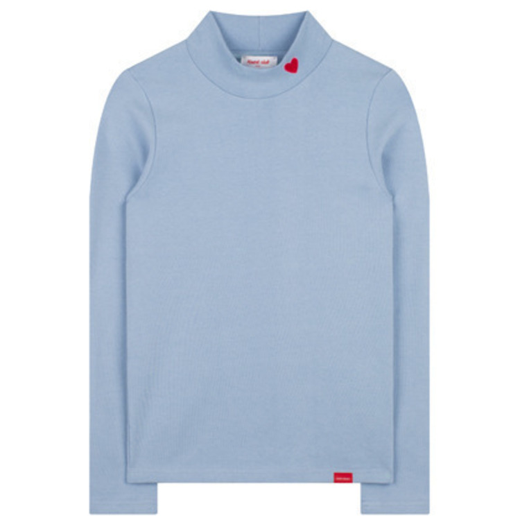 Heart High Neck Solid Top  (Sky blue)