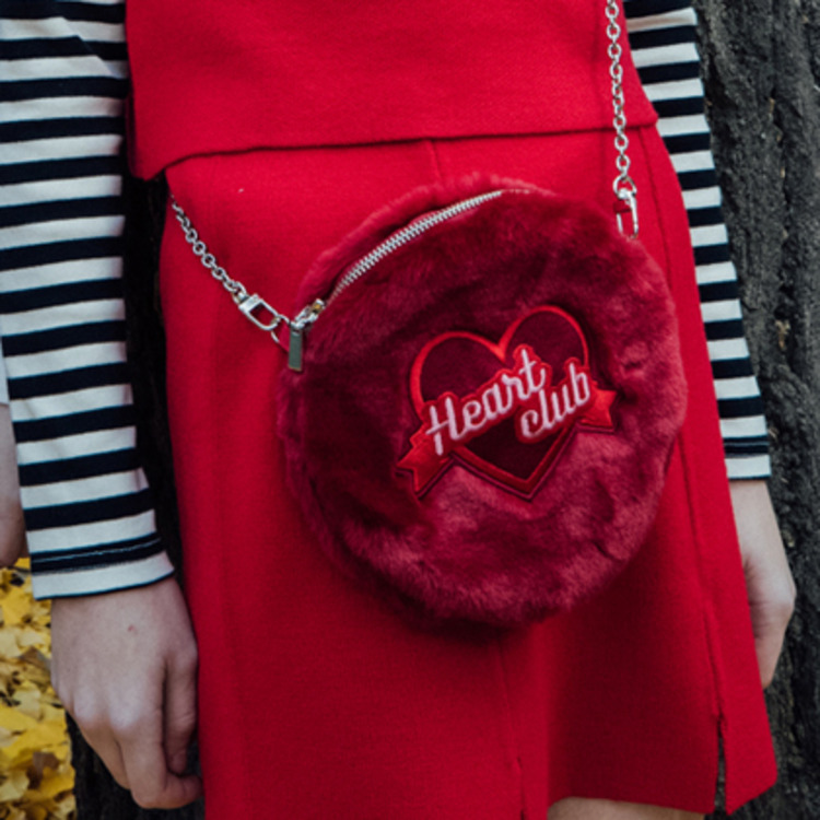 Heart Fur Mini Bag(chain&strap) (Wine)