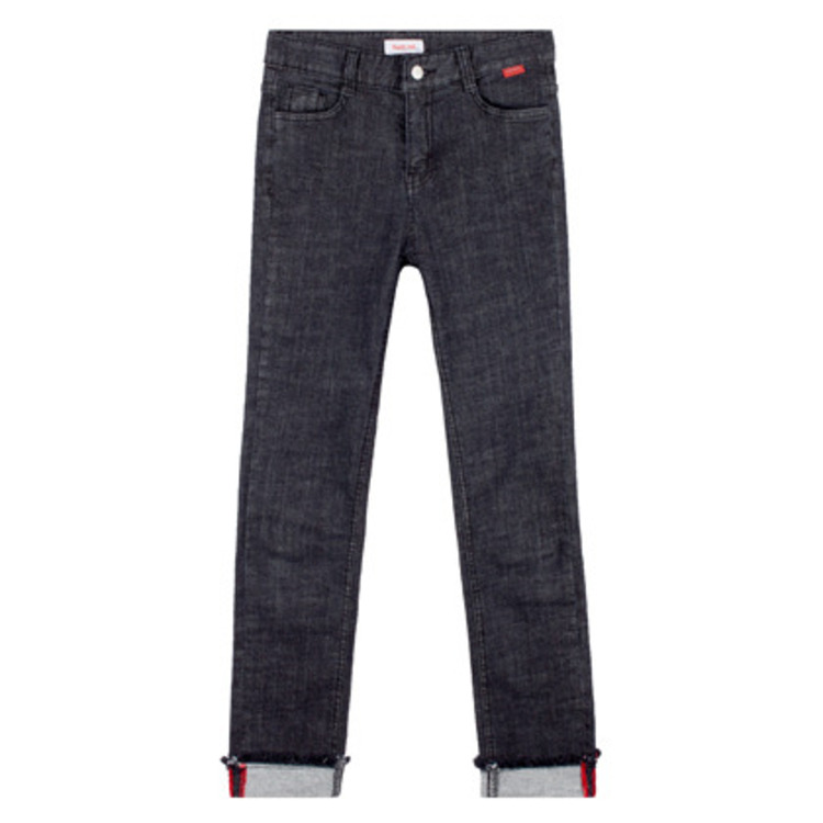 Heart Roll Up Denim Pants(Black)