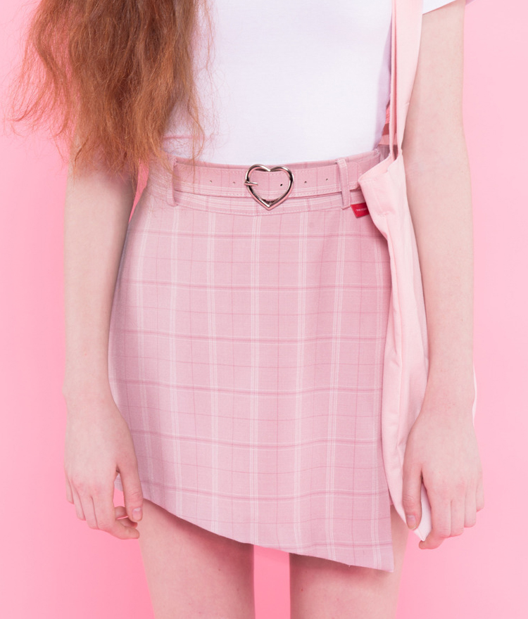 Heart check wrap skirt pants(Pink)