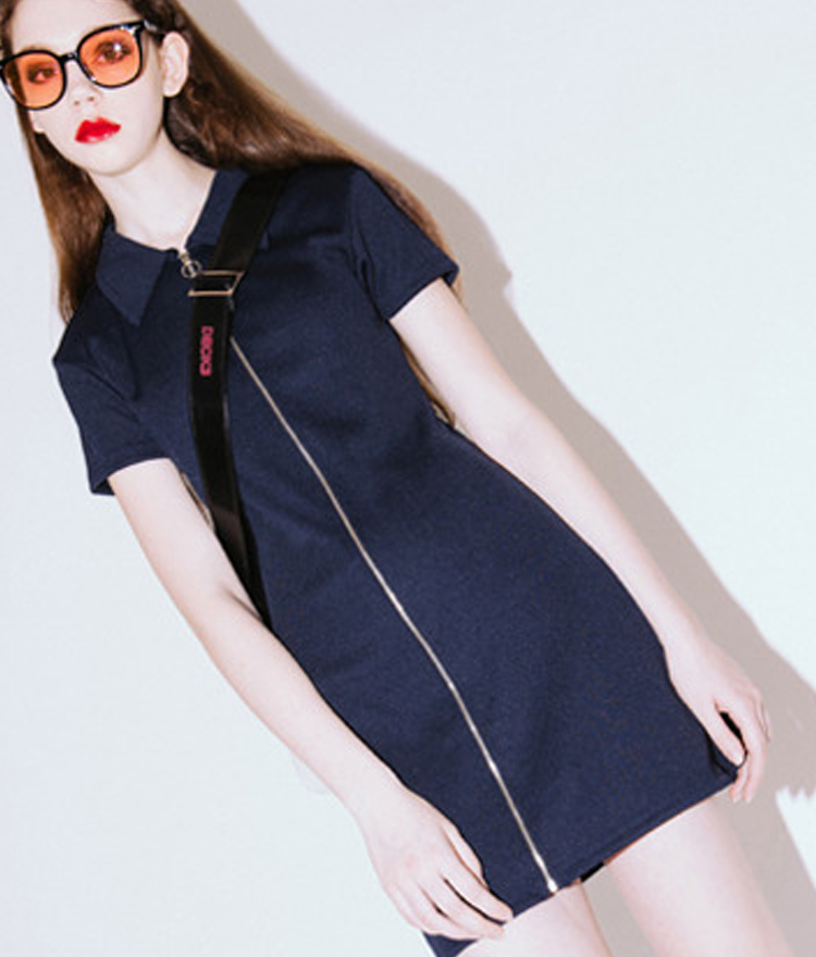 Collar Zipper Dress(Navy)