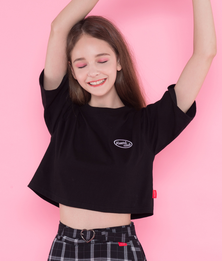 Heart boxy crop top(Black)