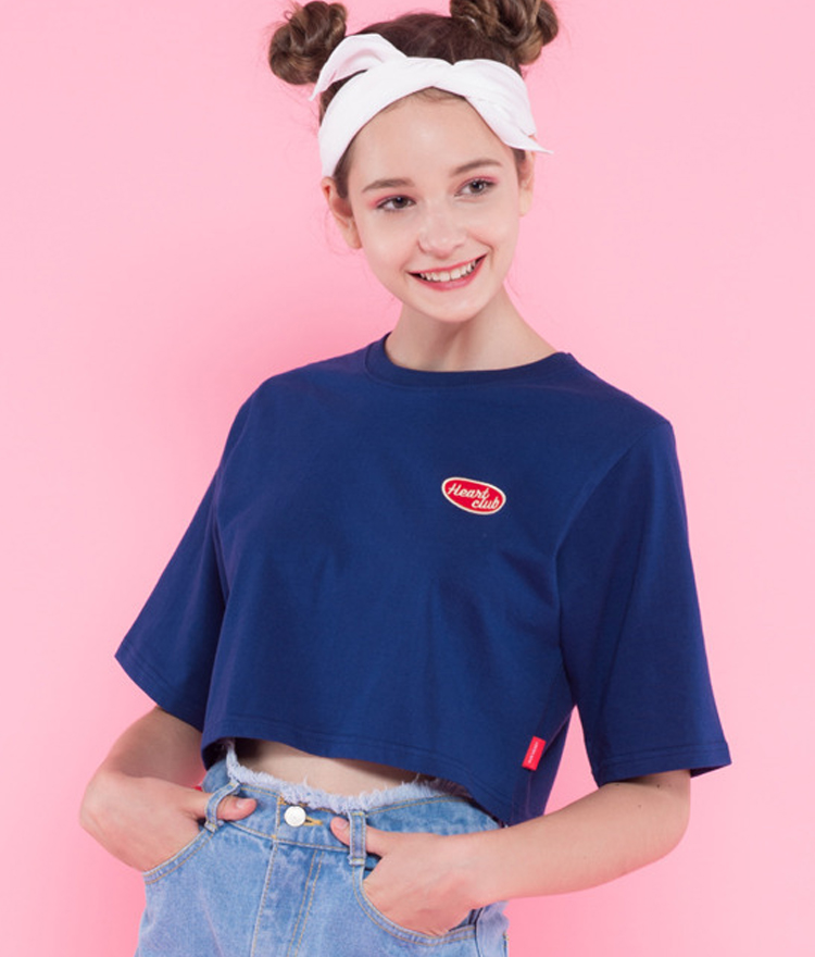 Heart boxy crop top(Navy)
