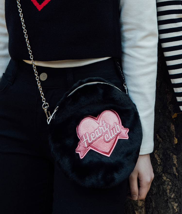 Heart Fur Mini Bag(chain&strap) (Black)