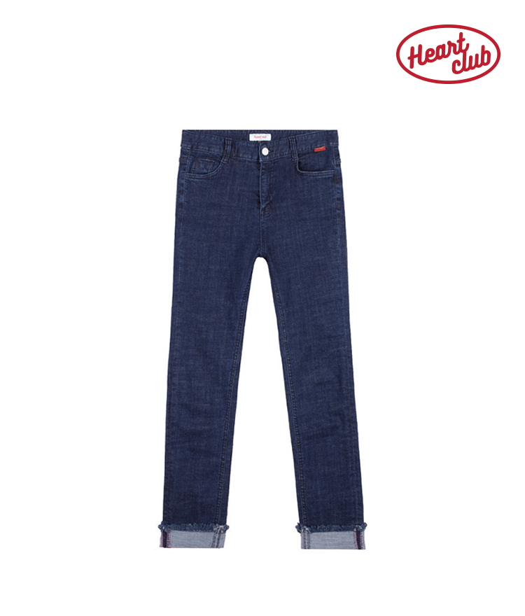 Heart Roll Up Denim Pants(Blue)