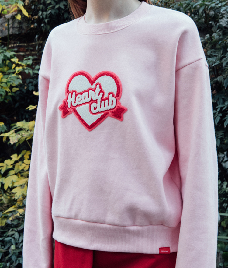 Heart Boucle Sweat Shirt  (Light pink)