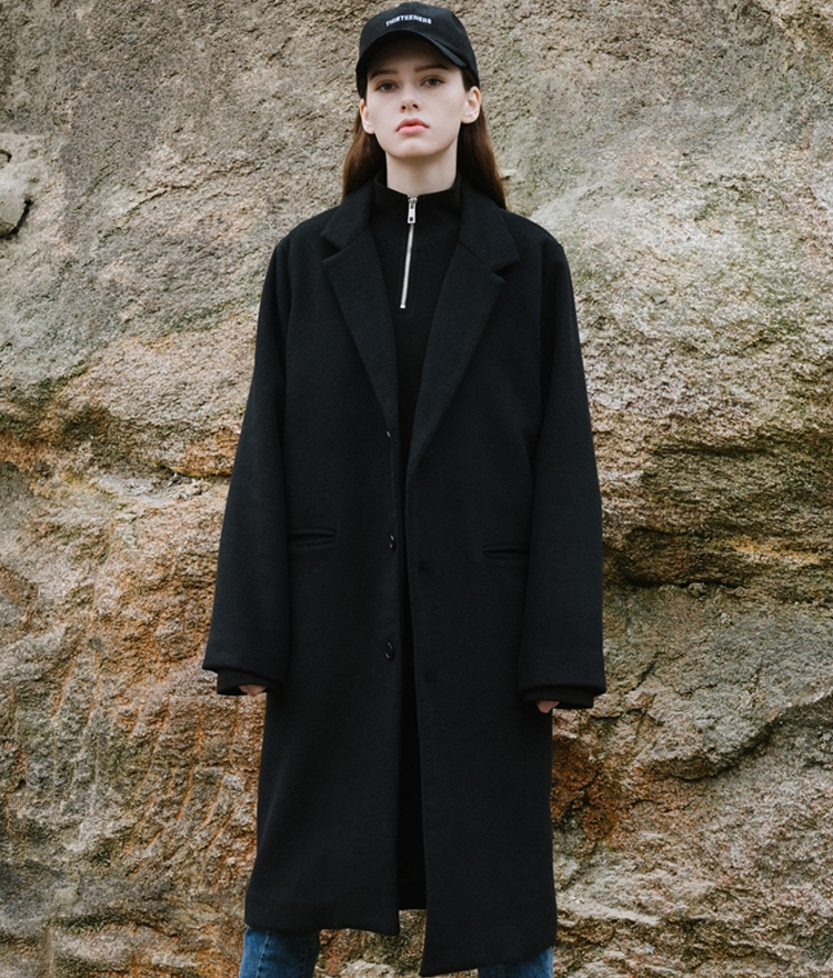 Long Single Wool Coat (wool 60%)