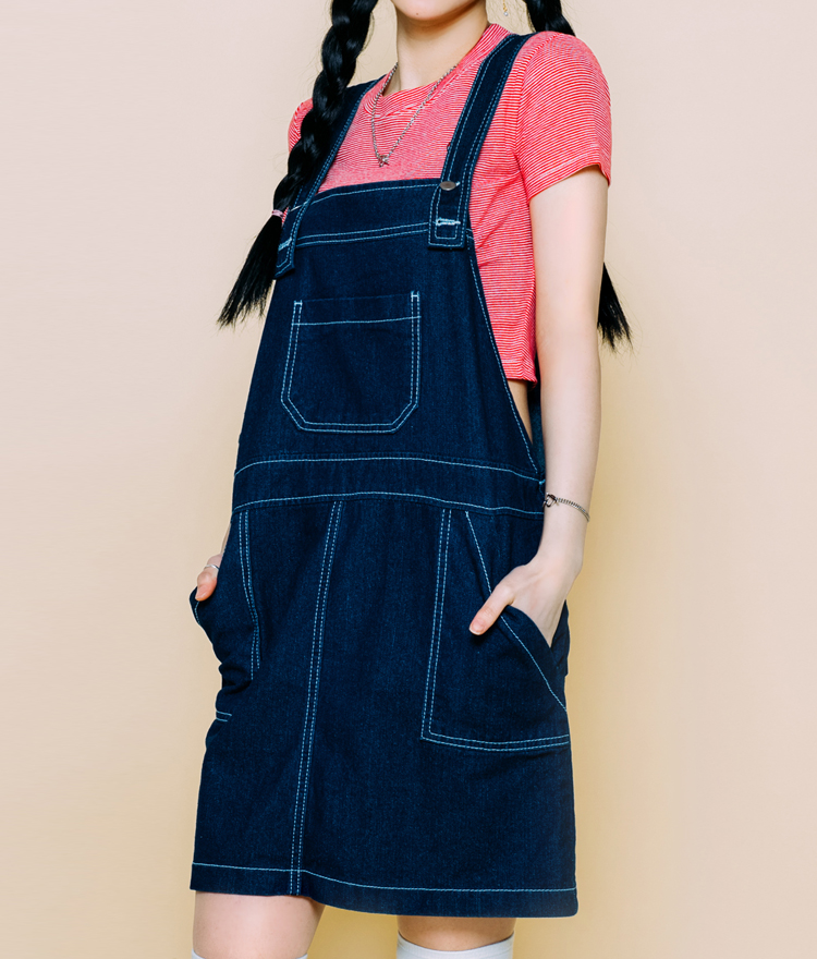 Denim stitch overall
