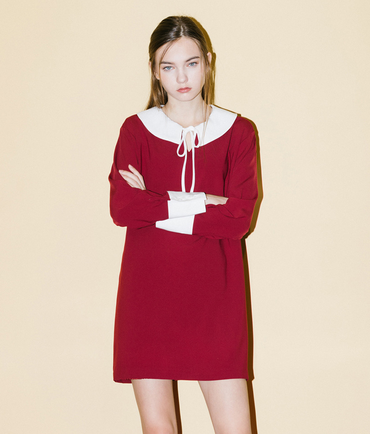 Ribbon Collar Dress (Wine)