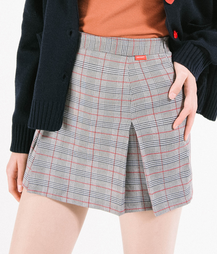 Heart Check Pleats Skirt