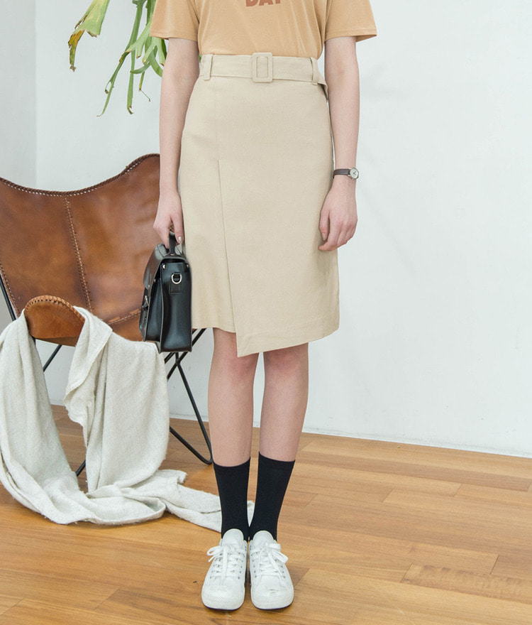 Belted Unbalanced Skirt