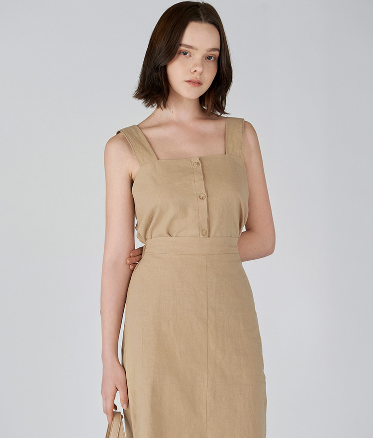 Linen Square-neck Bustier