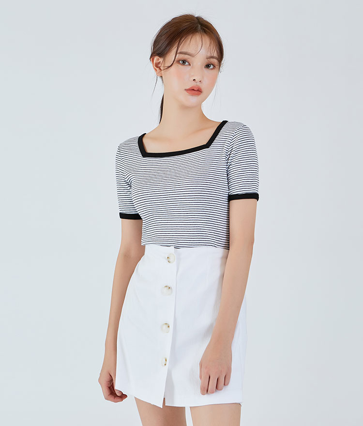 Square-neck Striped Top