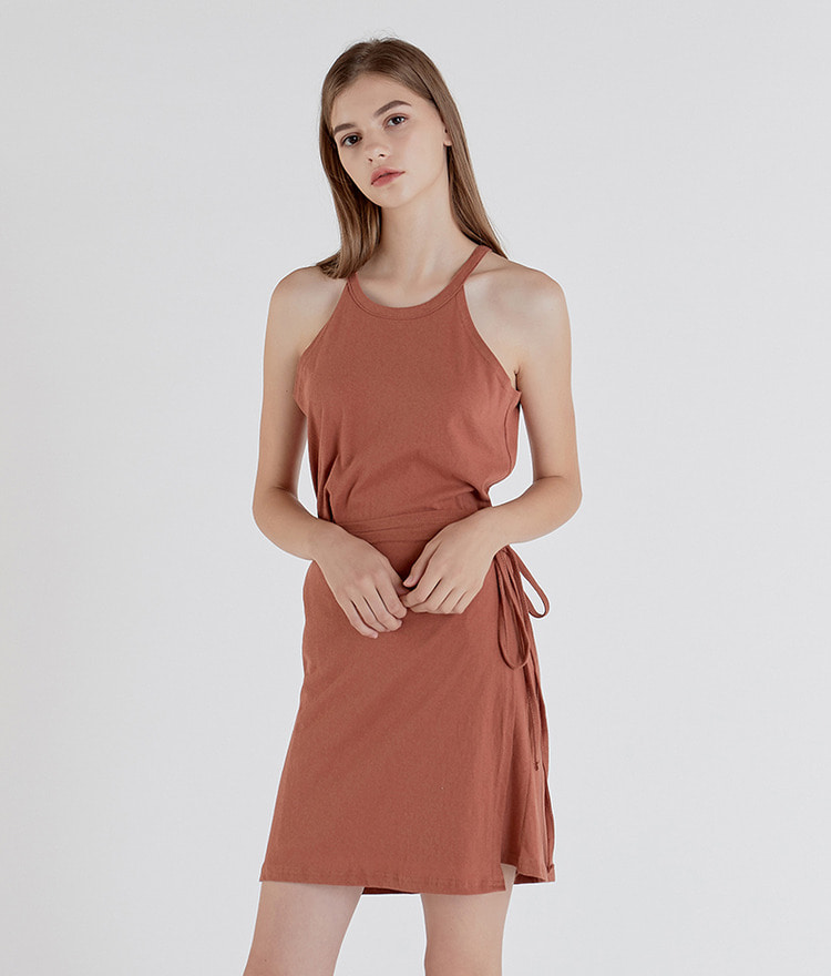 Wrap Cotton Halter Dress