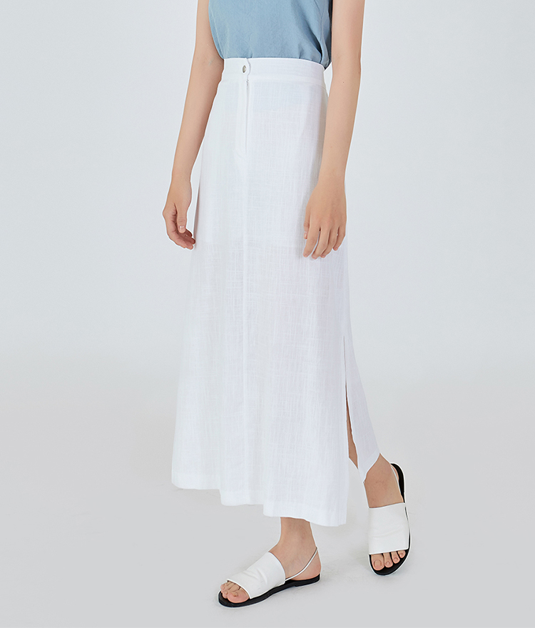 Side Slit Linen Long Skirt