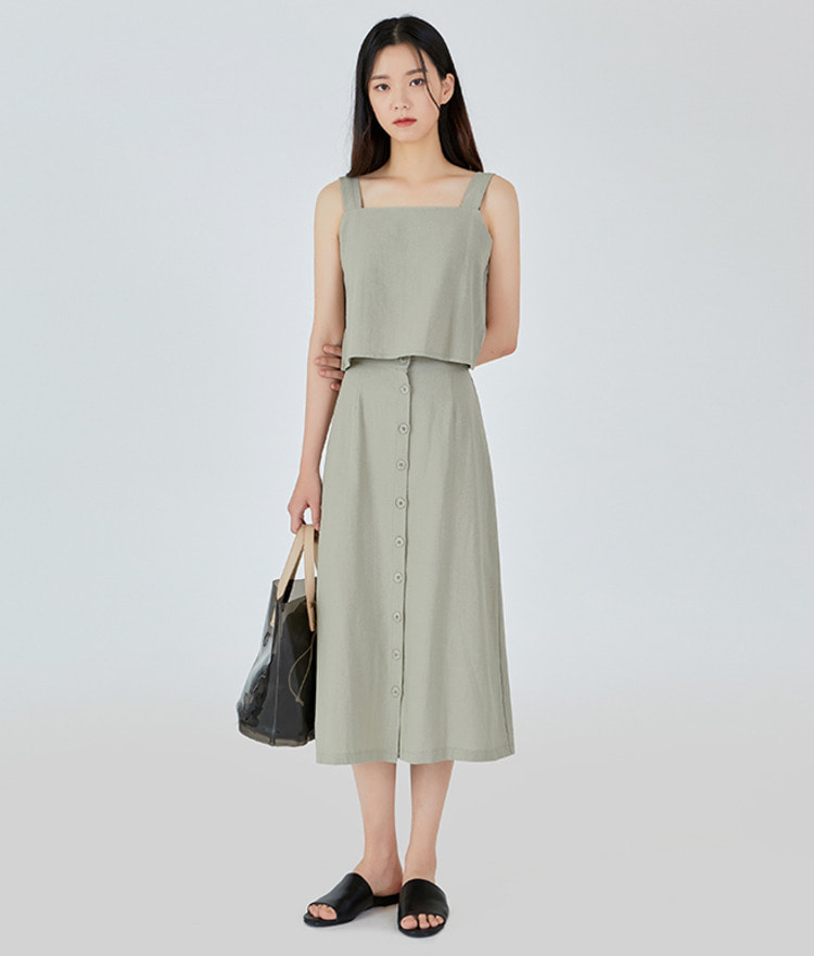 Natural Sleeveless-Skirt SET