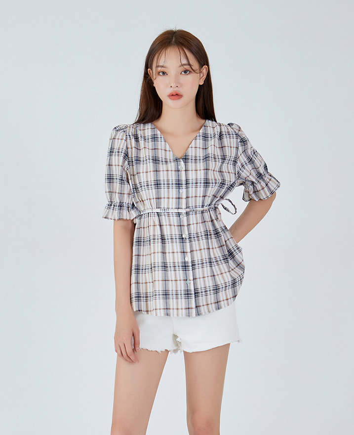 Waist String V-neck Blouse