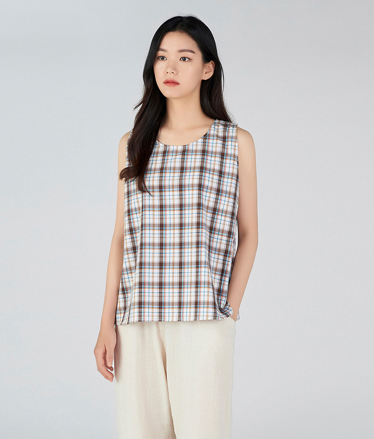 Checked Sleeveless Top