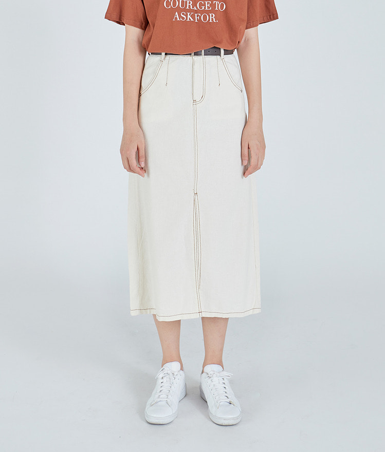 Front-Slit Long Skirt