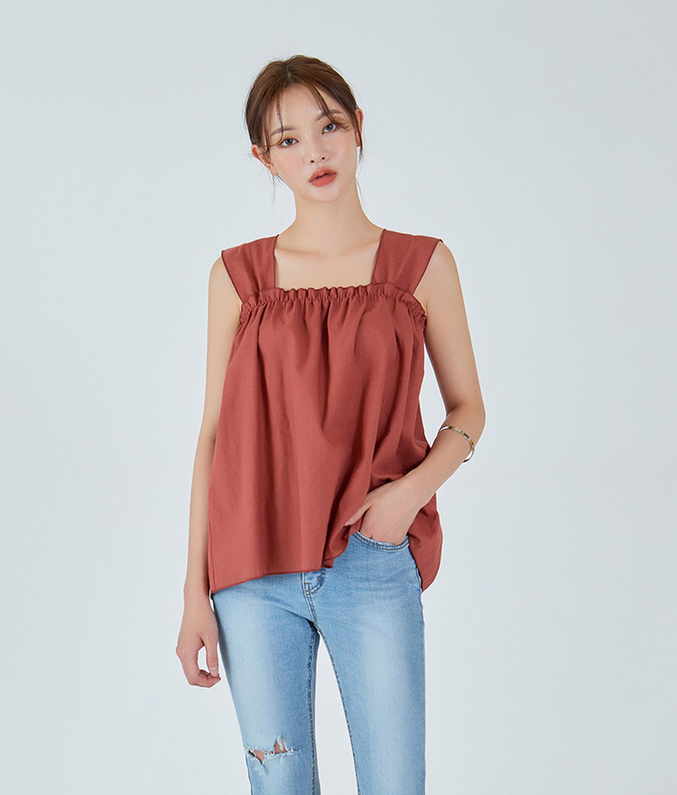 Cool Shirring Sleeveless Top