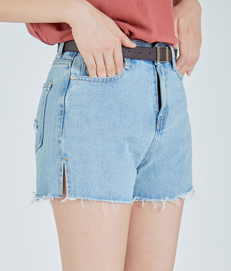 Side-Slit Denim Shorts