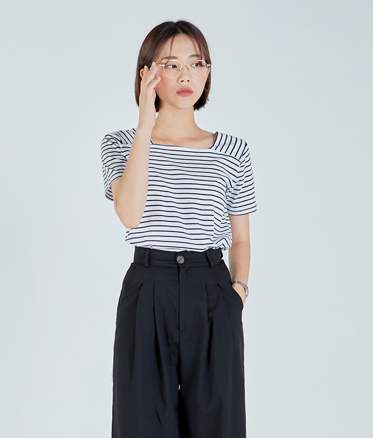 Square Stripe Cotton Top