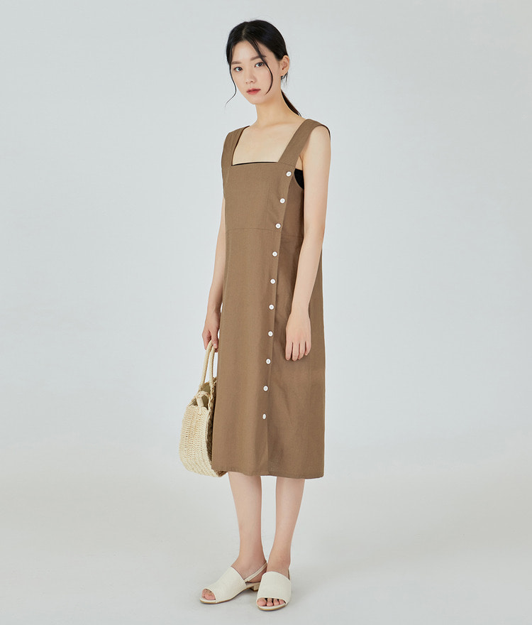 Side Button Linen Dress