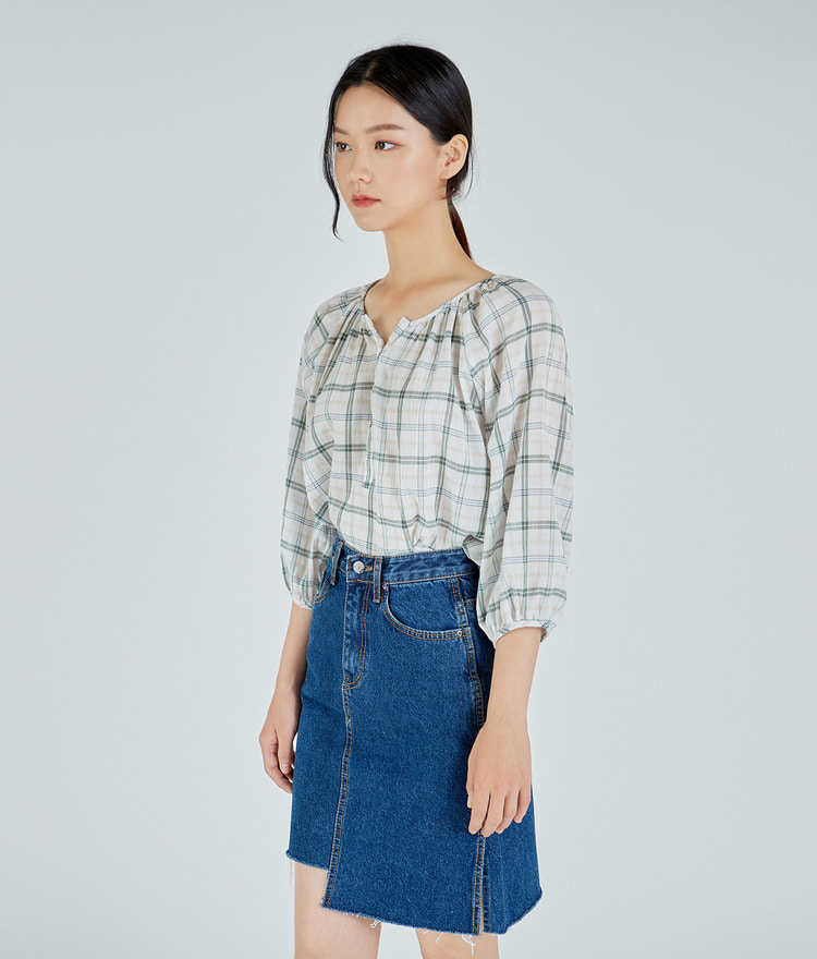 Button-up Checked Blouse