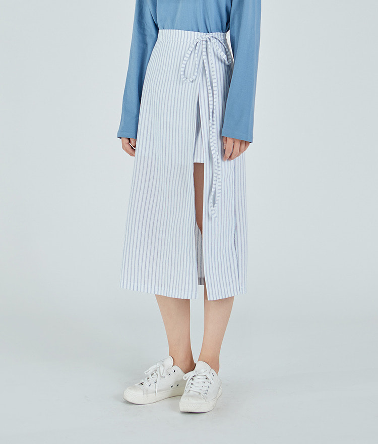 Unbalanced Striped Long Skirt