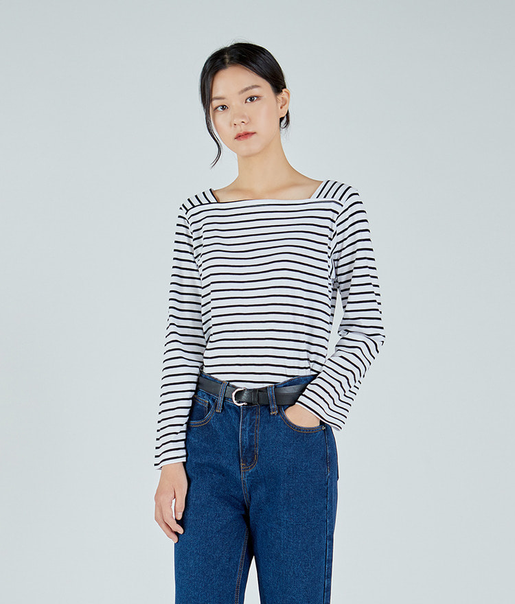 Basic Square-neck Striped Top