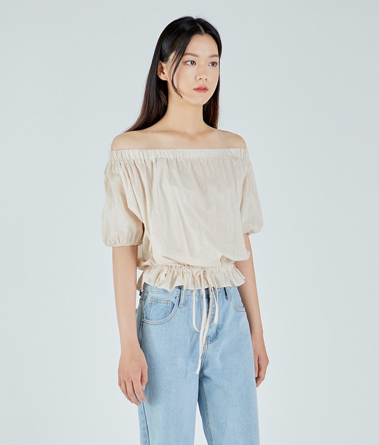 Waist Point String Off Blouse