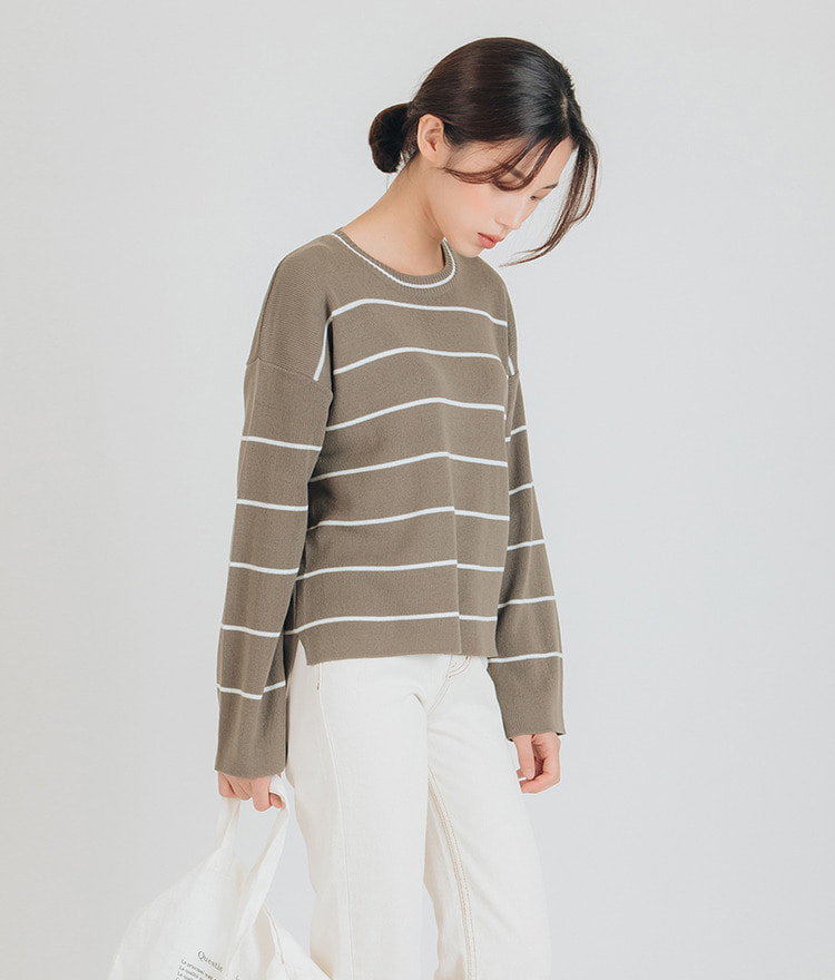 Stripe Round Neck Knit