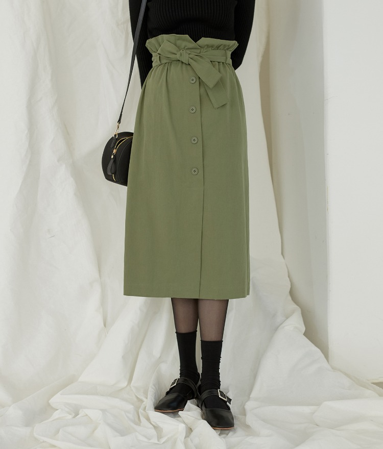 Button Belted Trench Skirt