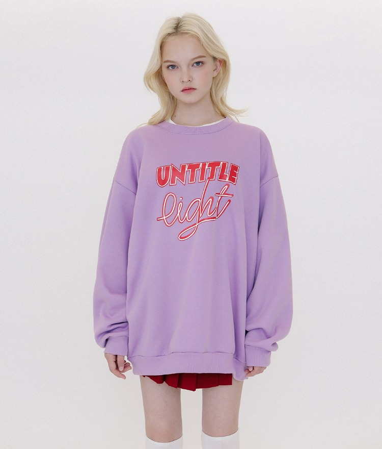 Typo Combination Sweat Shirt (Light Purple)