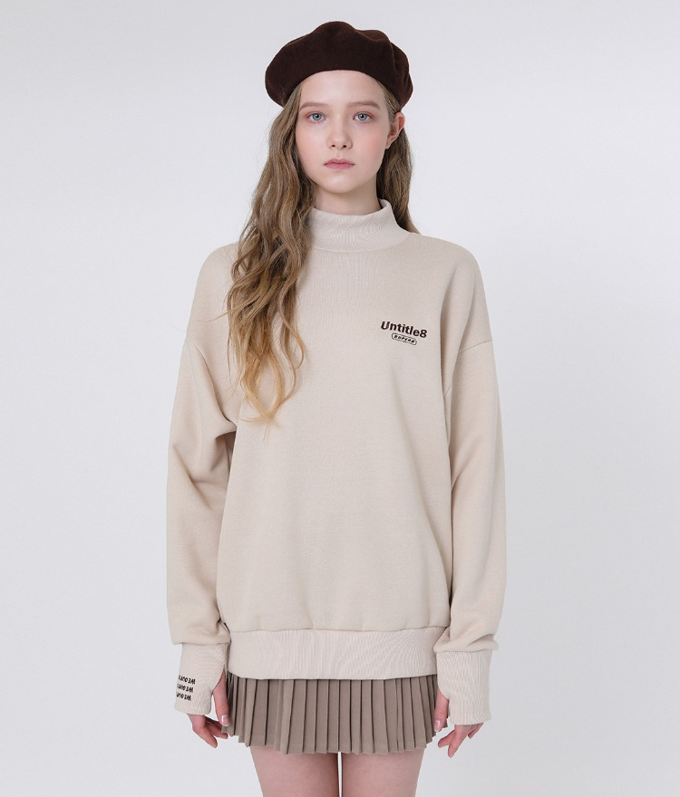 Warmer Neck Sweat Shirt (Beige)