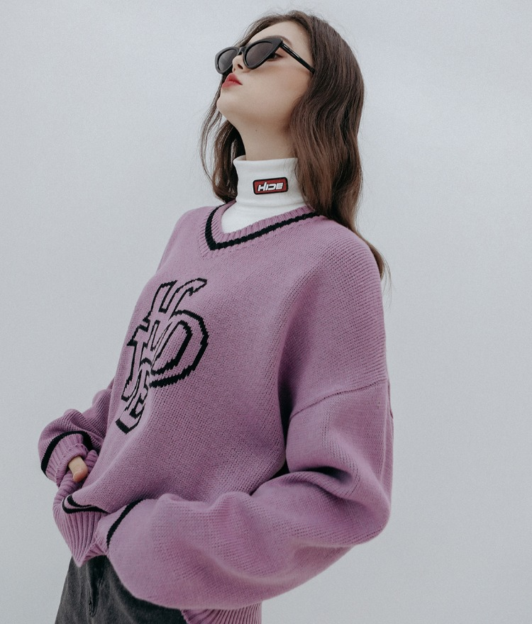HIDE Future V-neck Knit (Light Purple)
