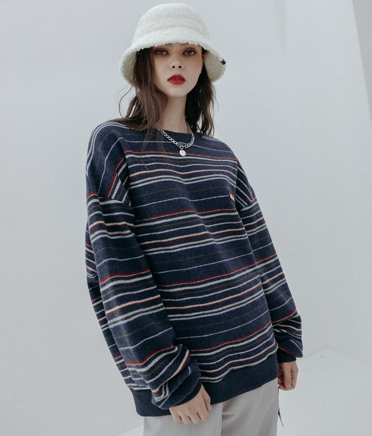 HIDE Future Stripe Sweat Shirt (Navy)